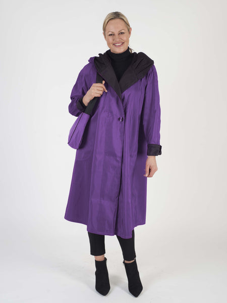 Purple Reversible Tea Length Raincoat