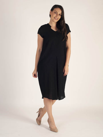 Black Notch Neck & Pleat Trim Detail Textured Crinkle Dress