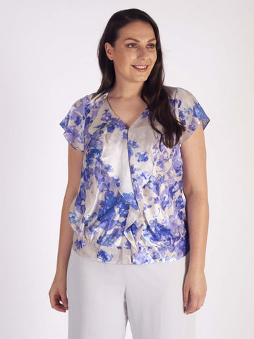 Chesca Lilac Border Print Silk Blouse