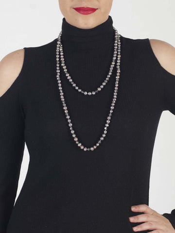 Soft Grey Freshwater Pearl Necklace With Glass Beaded