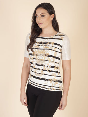 Cream/Gold Stripe Flower Print Front Top With Lower Back