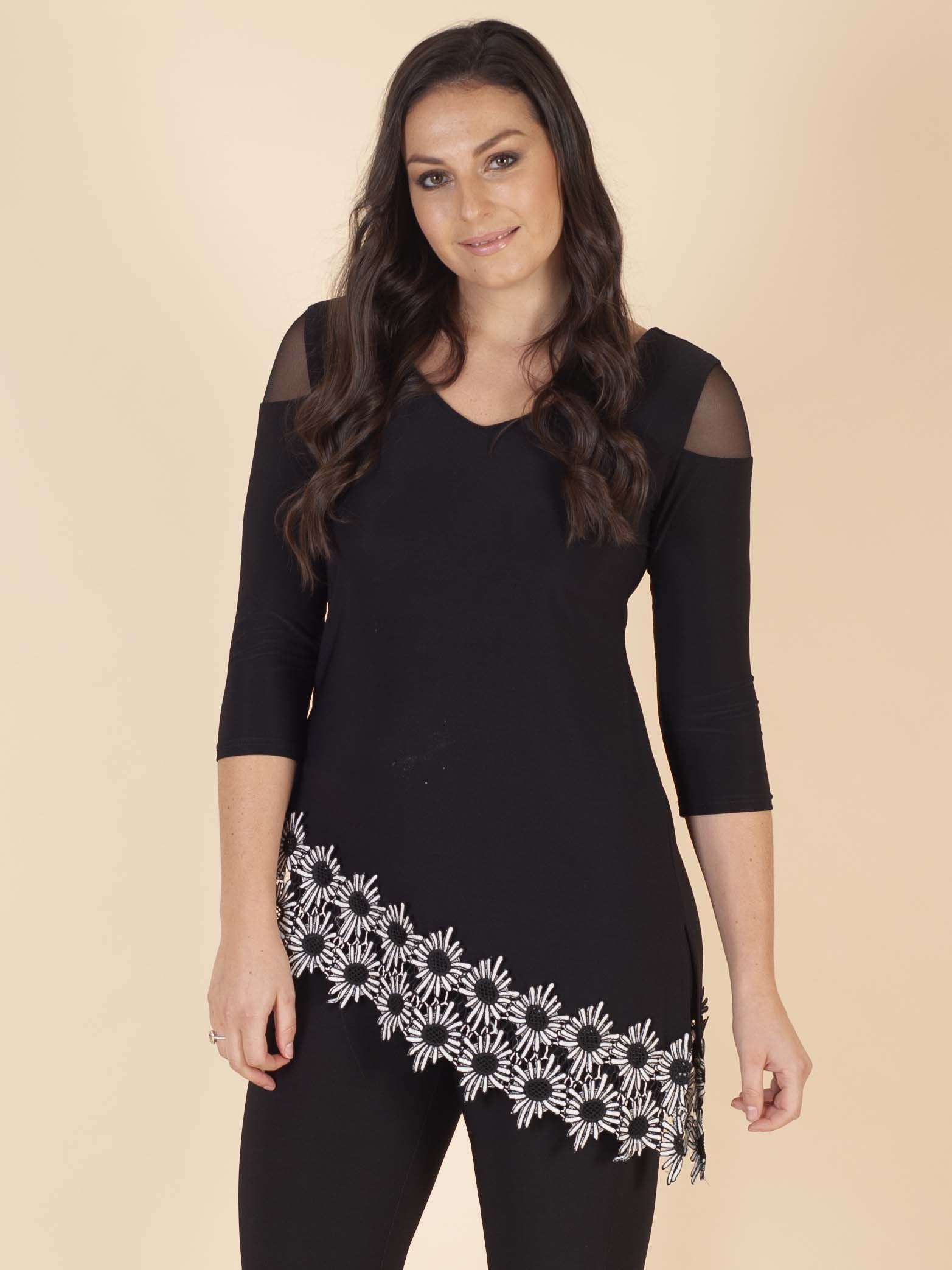 Joseph Ribkoff Black Tunic With Daisy Trim Border