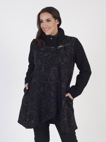 Black Cable Collar Baroque Intasia Coat