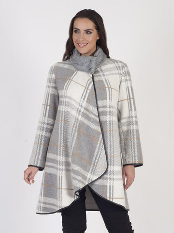 Grey/Ivory Check Cable Collar Coat