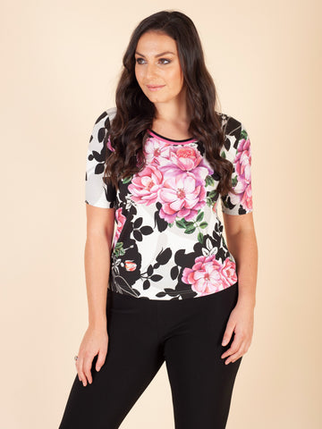 Eugen Klein Blk/Pink/Cream Flower Print Top
