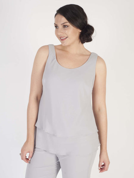 Soft Grey Double Layer Chiffon Camisole