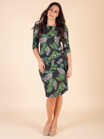 Eugen Klein Green Leaf Print Side Tie Shift Dress