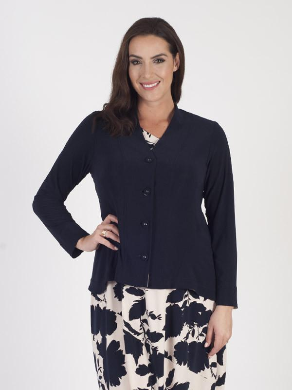 Navy Jersey jacket With Contrast Print Trim