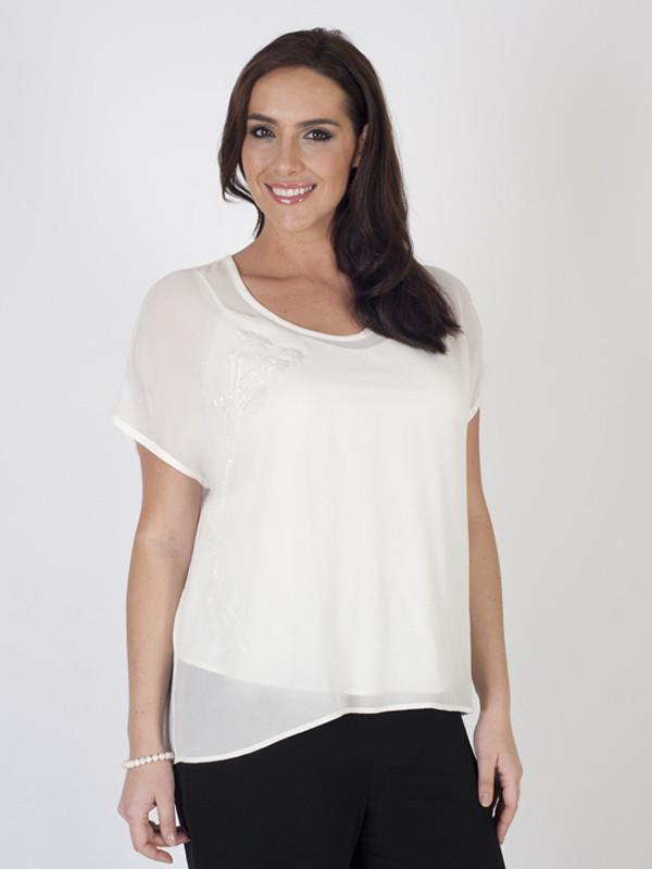 Ivory Silk Bead Trim Blouse with matching lining