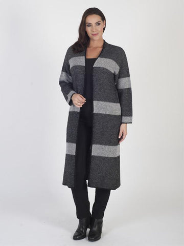 Black/Ivory Block Stripe Edge to Edge Long Cardigan