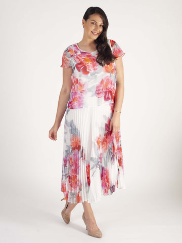 Ivory/Pink Peony Print Double Layer Pleated Dress