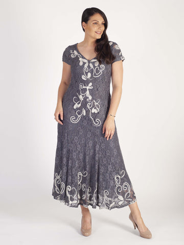 Steel/Ivory Ombre Cornelli Emb Lace Dress