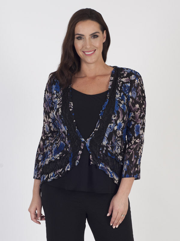 Cobalt Floral Print Black Lace Trim Shrug