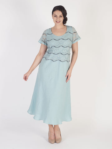 Aqua Scallop Lace Bodice Linen Dress