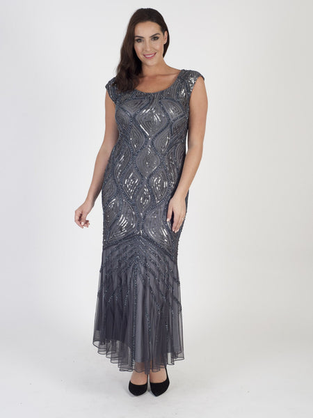 Dark Grey Beaded Mesh Dress