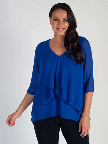 Cobalt Fancy Double Layer Chiffon Long Sleeve Top