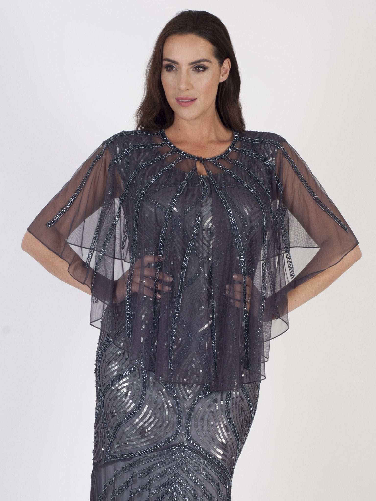 Dark Grey Beaded Mesh Cape