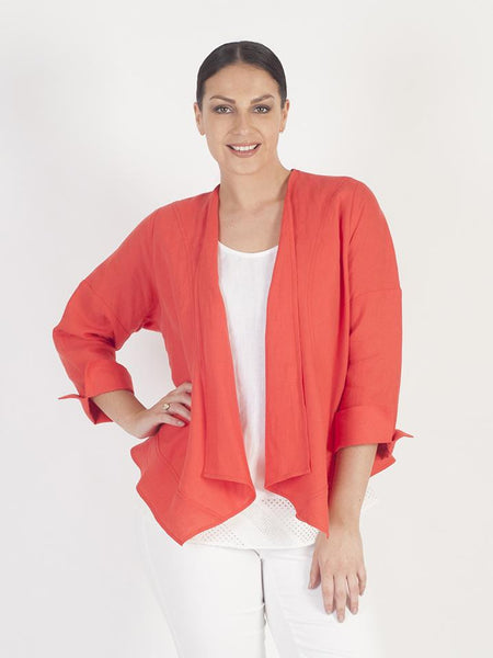 Orange Button Trim Waterfall Linen Jacket