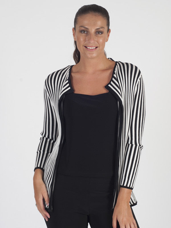 Gerry Weber Black And White Stripe Cardigan