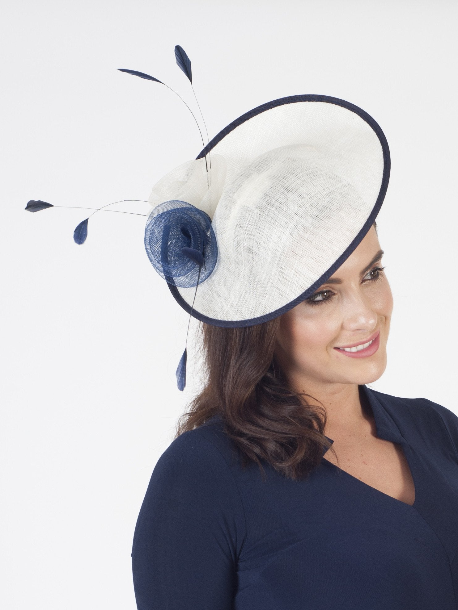 Navy Ivory Sinamay Base With Crin Rosettes and Coque Feathers Hatinator b2f1ee00c25