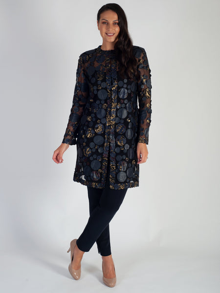 Navy/Gold Print & Plain Irregular Spot Applique Leather On Mesh Coat -