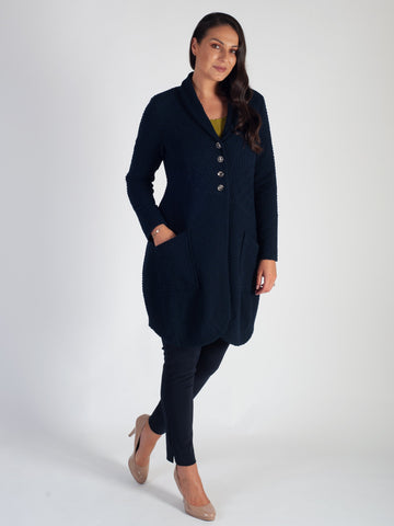 Navy Zig-Zag Stretch Cloque Coat