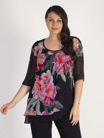 Blk/Pink Peony Print Double Layer Asymmetric Chiffon Top