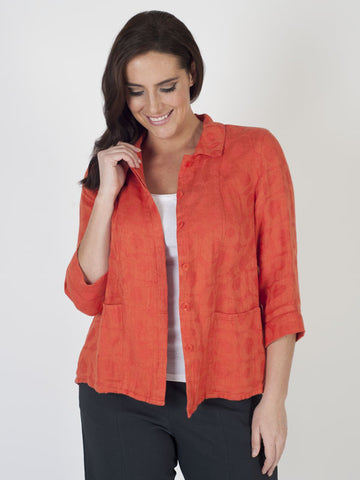Vetono Orange Jacquard Linen Cropped Jacket