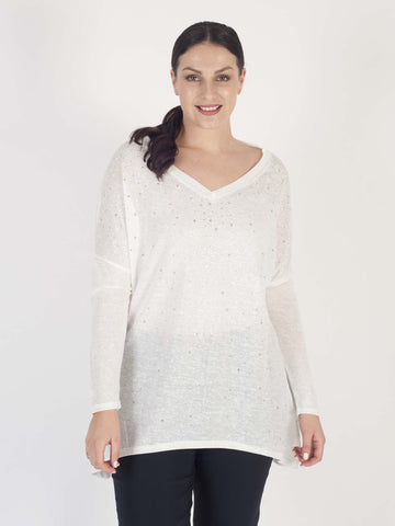 White Long Sleeve Scatter Studs Slub Top