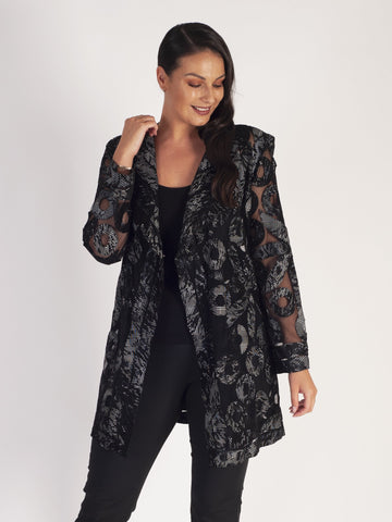 Blk/White Textured Print Applique Leather On Mesh Coat
