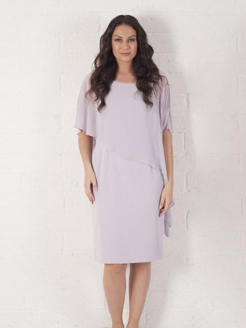 Orchid Mist Dress With Asymmetric Chiffon Cape