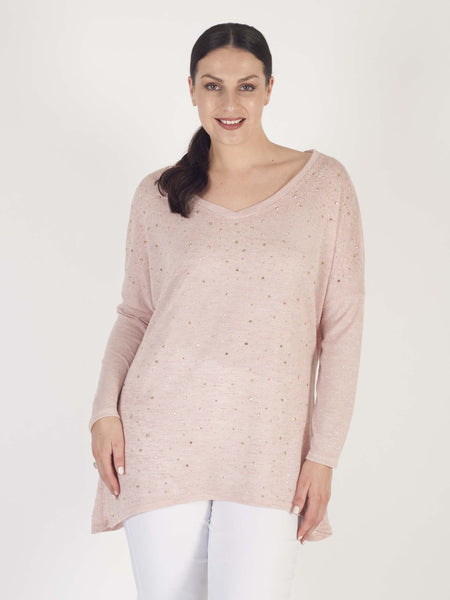 Pink Long Sleeve Scatter Studs Slub Top