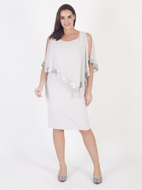 Silver Grey Sequin Trim Cape Dress