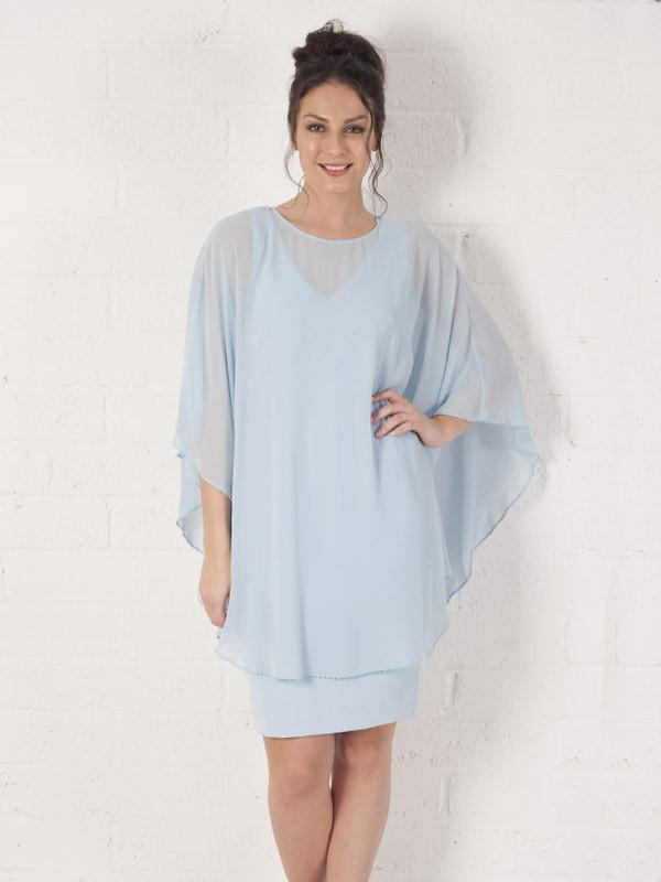 Light blue  Dress With Long Chiffon Bead Trim Cape