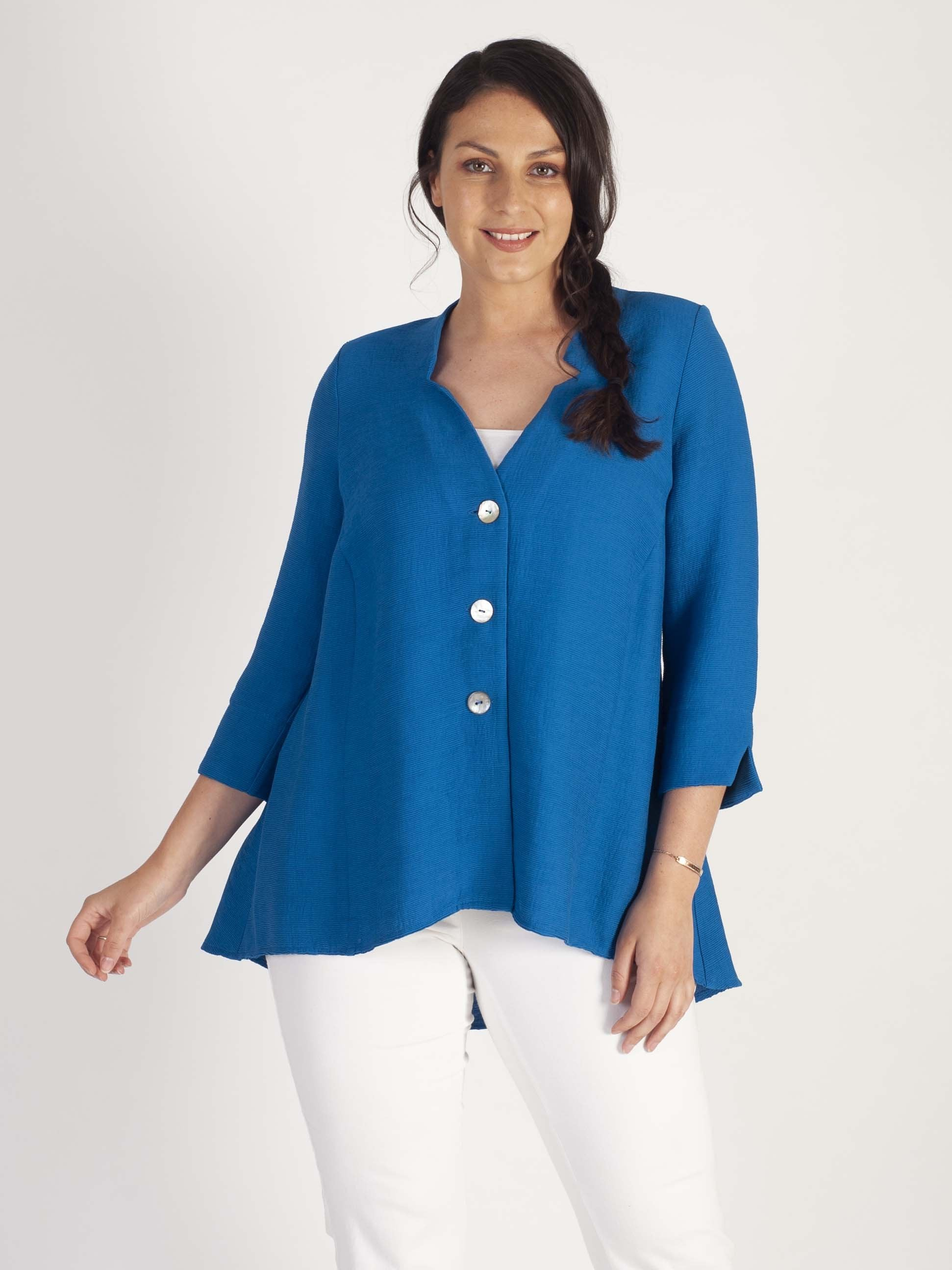 Peacock Fine Crinkle button through tunic