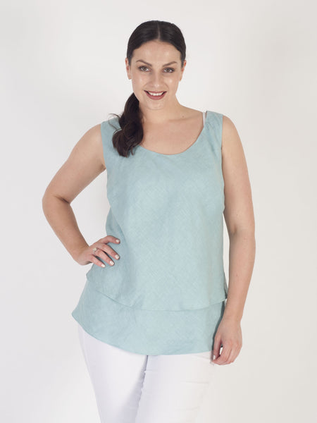 Aqua Double Layer Linen Camisole