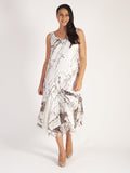 Ivory/Mocha Pheasant Print Abstract Satin Devoree Dress