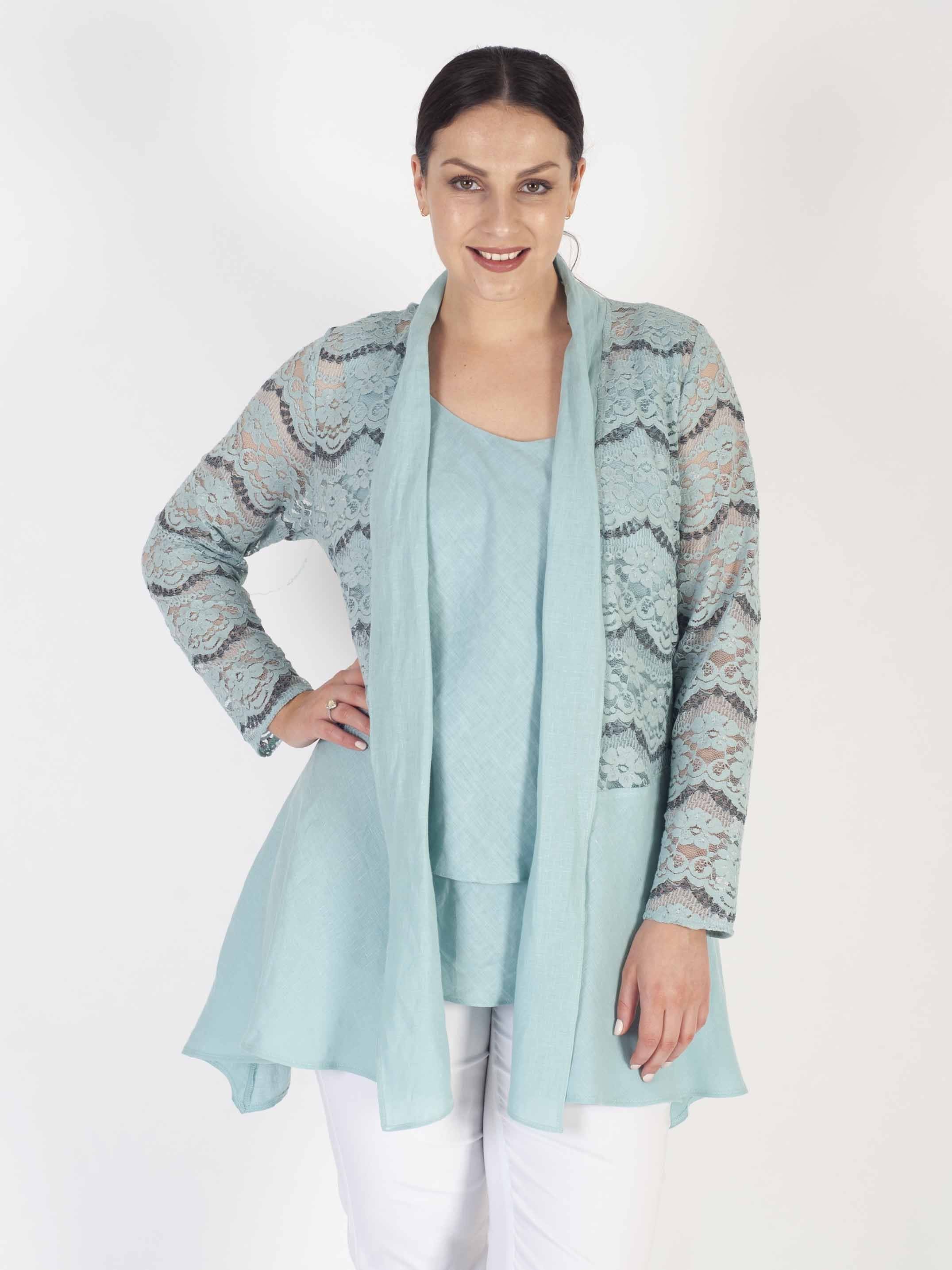 Aqua Scallop Lace Trim Linen Jacket