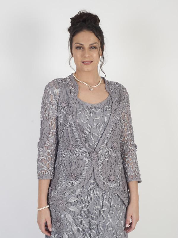 Silver Grey Embroidered Cornelli Lace Jacket