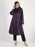 Grape Flock Print Pleat Collar Coat