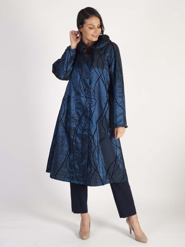 Navy Flock Print Pleat Collar Coat