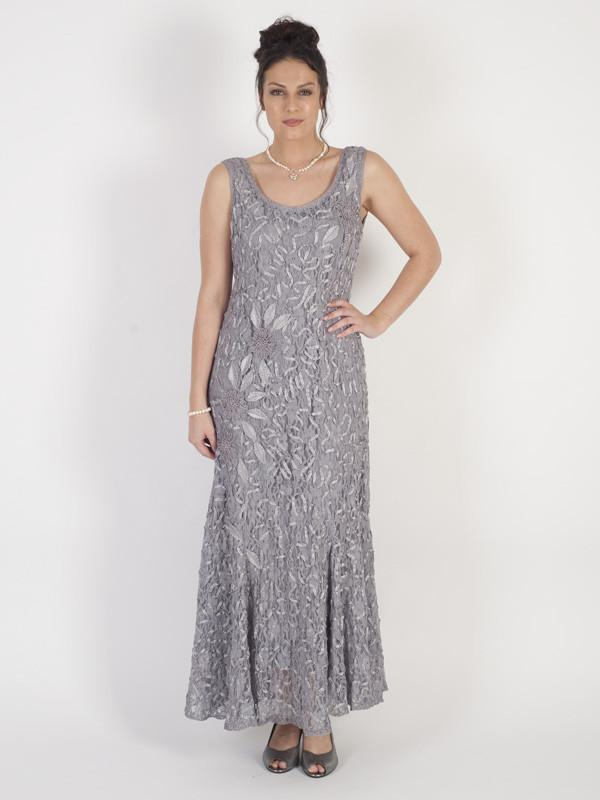 Silver Grey Cornelli Embroidered Lace Dress