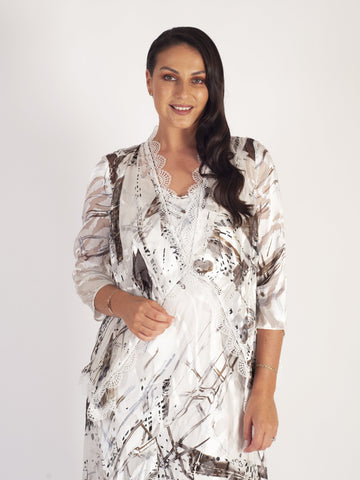 Ivory/Mocha Pheasant Print & Abstract Devoree Shrug with Lace Trim