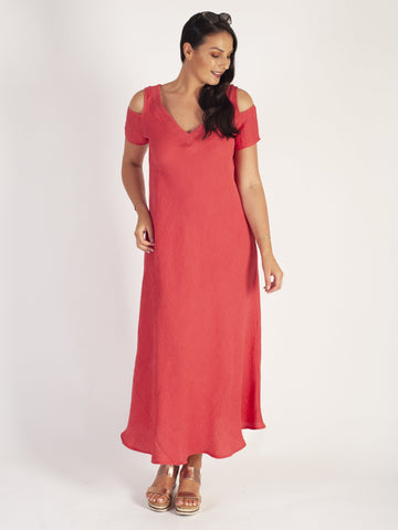 Coral Cold Shoulder V-Neck Crinkle Dress