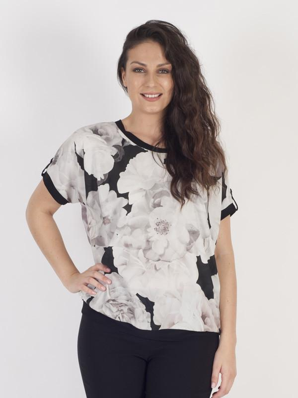 Blush Contrast Piping Trim Rose Print Top