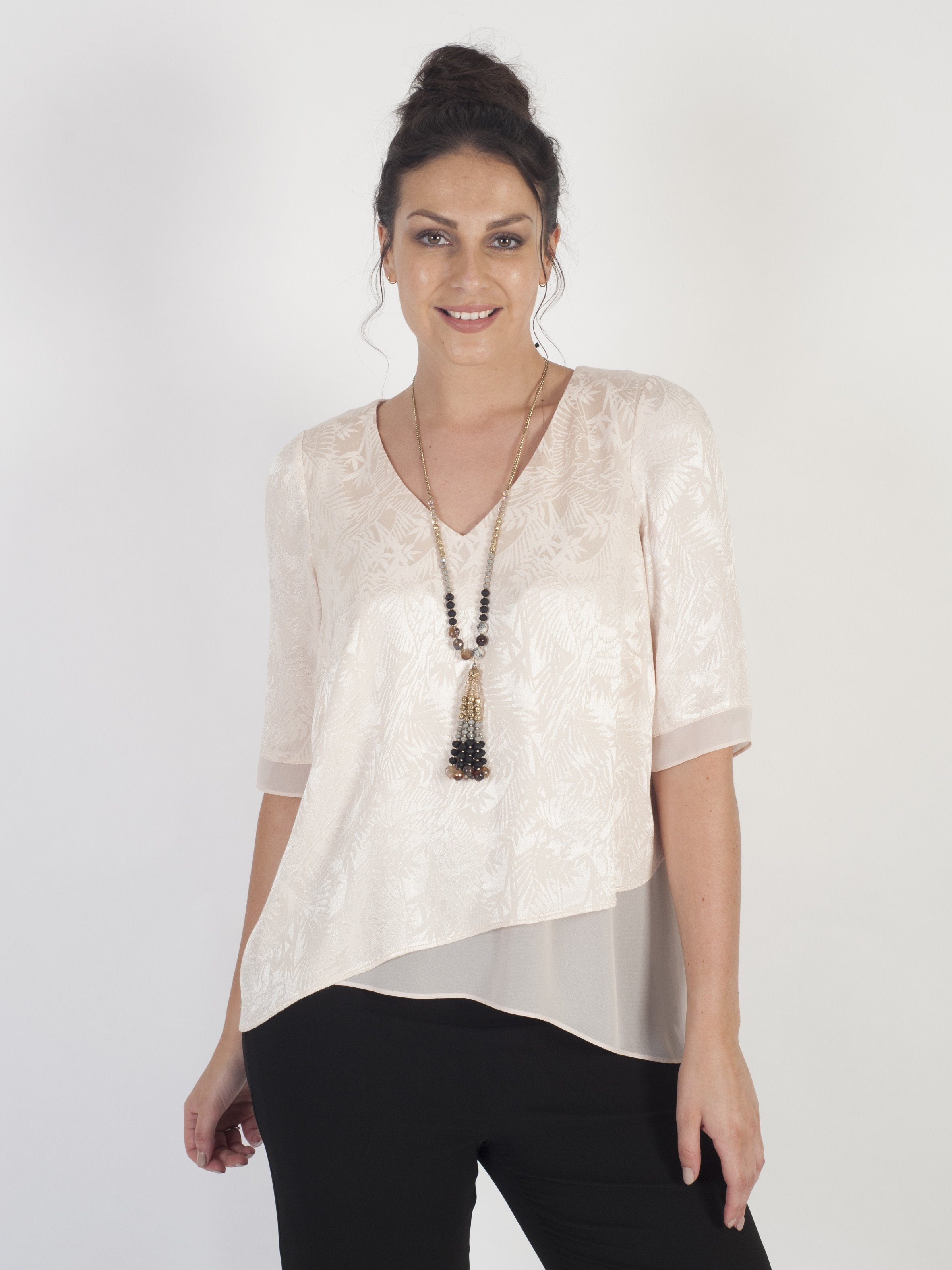 Blush Palm Leaf Jacquard Layered Tunic