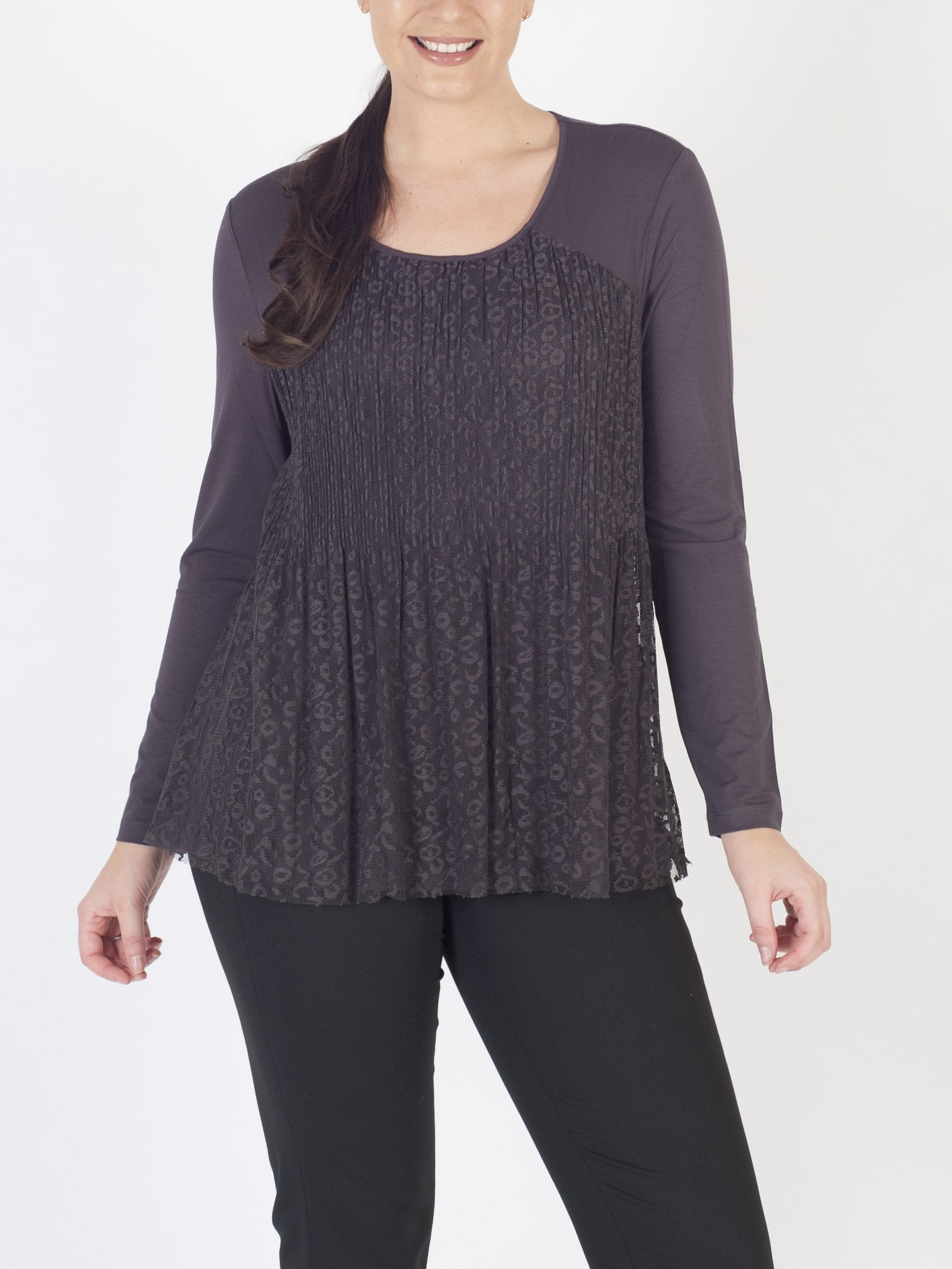LEBEK Lace-overlay Jersey Top