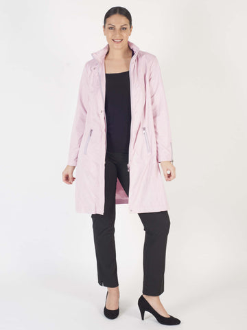 Peony Ruched Collar Zip Detail Raincoat