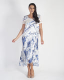 Ivory/Cobalt Pheasant Print Chiffon Trim Devoree Dress