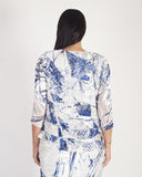 Ivory/Cobalt Pheasant Print & Abstract Devoree Shrug